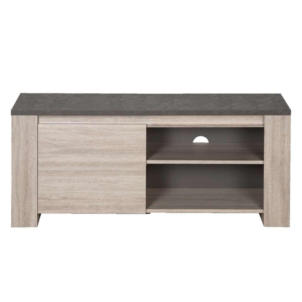 TV-meubel Yannick - grijs eiken/natuursteen - 51x130x51 cm - Leen Bakker
