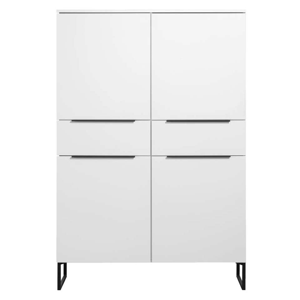 Kast Malaga - wit/zwart - 175x120x41 cm - Leen Bakker