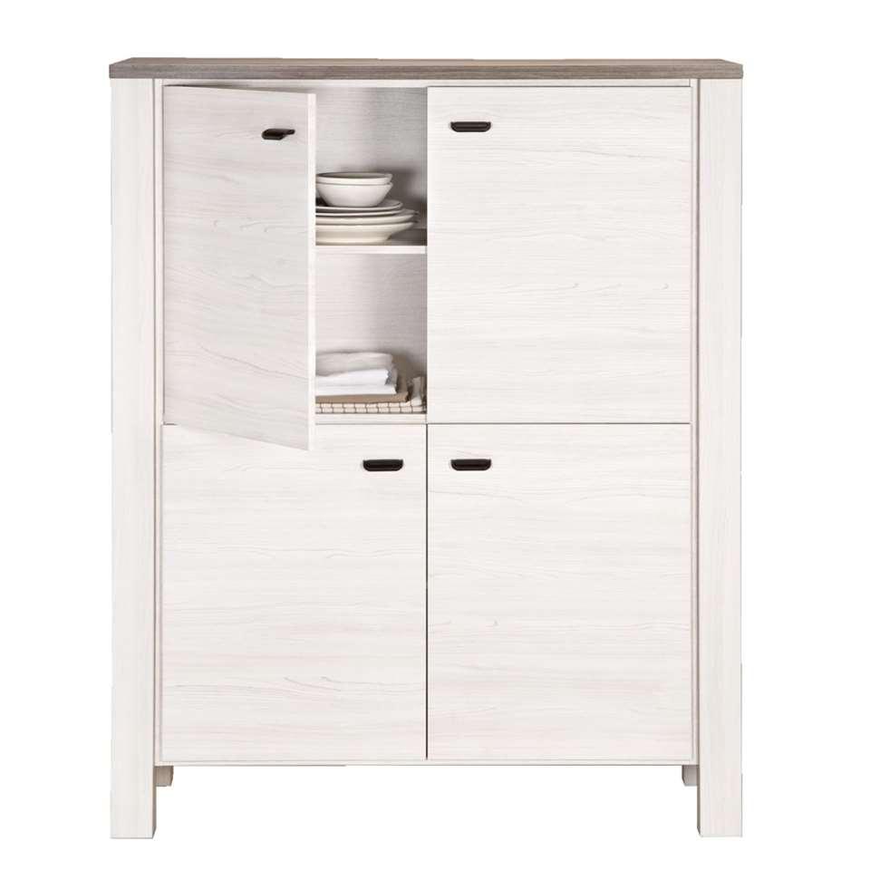 Barkast Lynn - wit eikenkleur - 150x119,5x50 cm - Leen Bakker