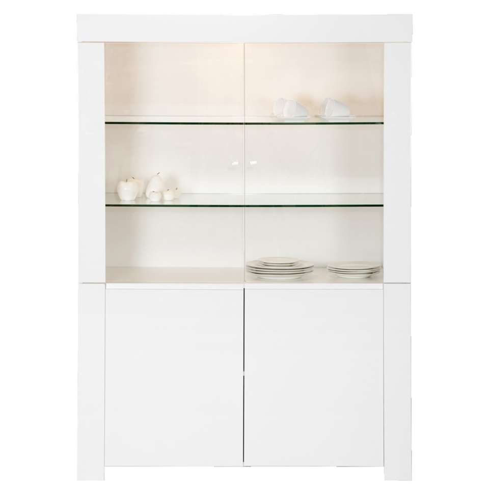 Vitrine Amalfi - hoogglans wit - 170x123x50 cm - Leen Bakker