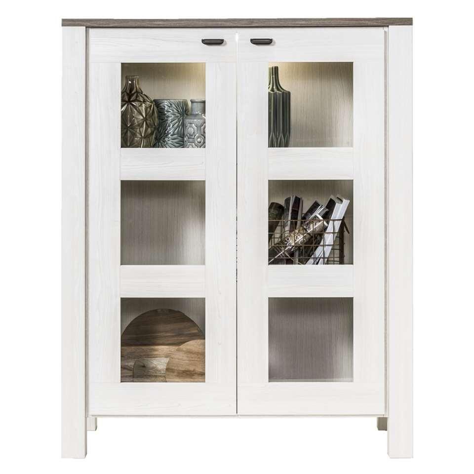 Vitrine Lynn - wit eikenkleur/bruin - 149x119,5x50 cm - Leen Bakker