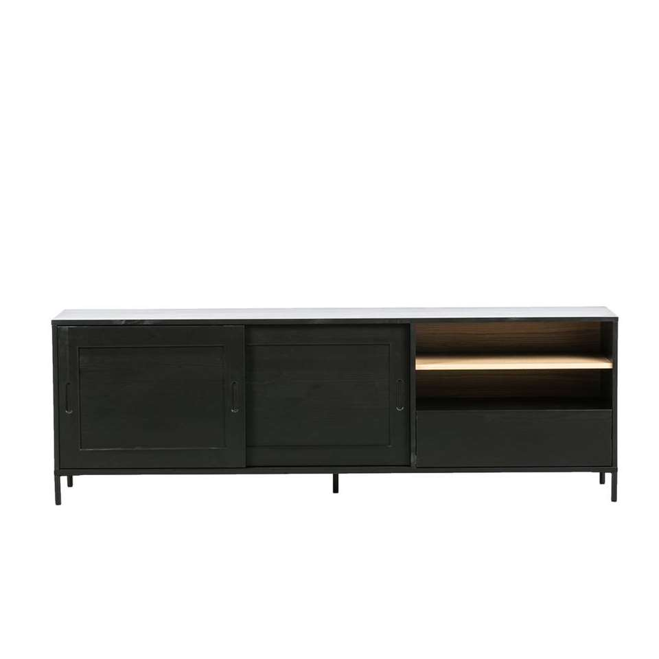 Woood dressoir Blackburn - zwart/bruin - 62x187x40 cm