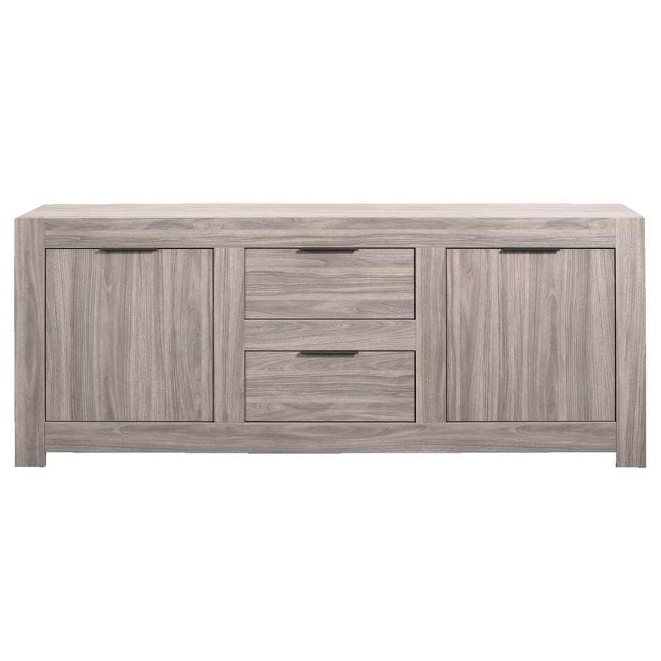 Dressoir Nero 2-deurs/2 lades - grijs eikenkleur - 83x210x51 cm - Leen Bakker