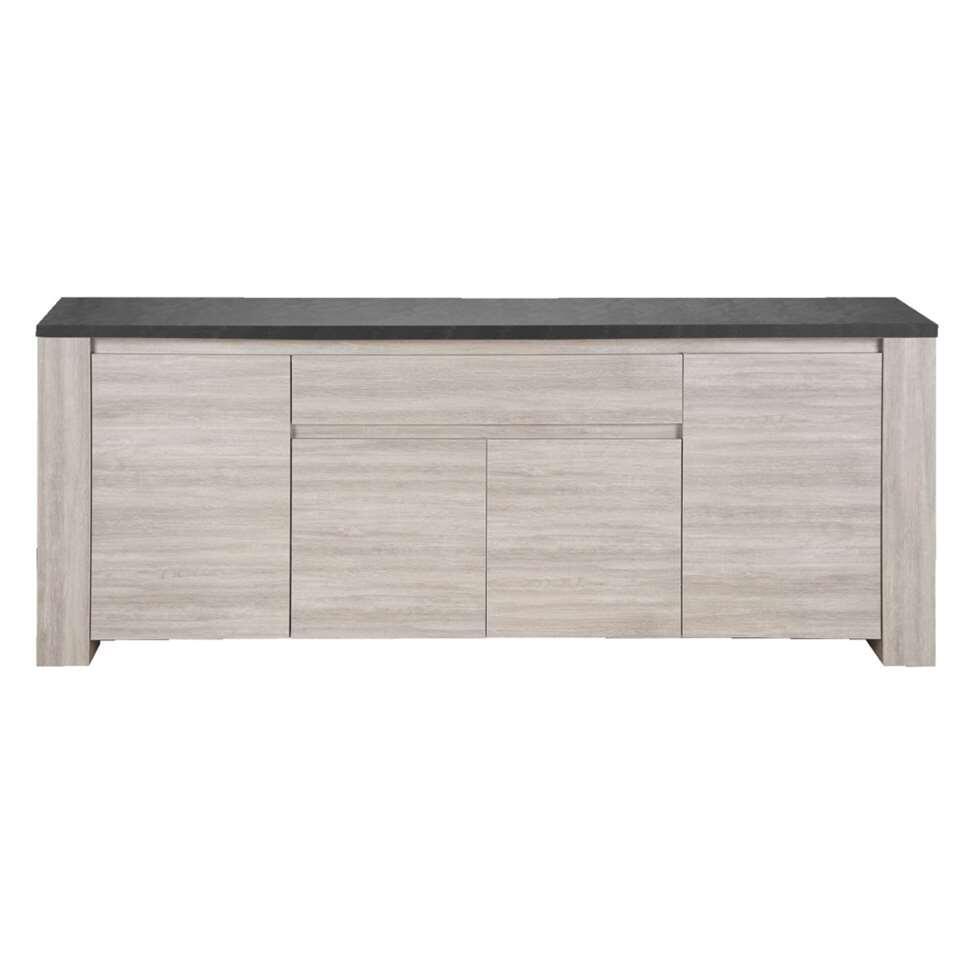 Dressoir Yannick - grijs eikenkleur/natuursteenlook - 51x210x84 cm - Leen Bakker