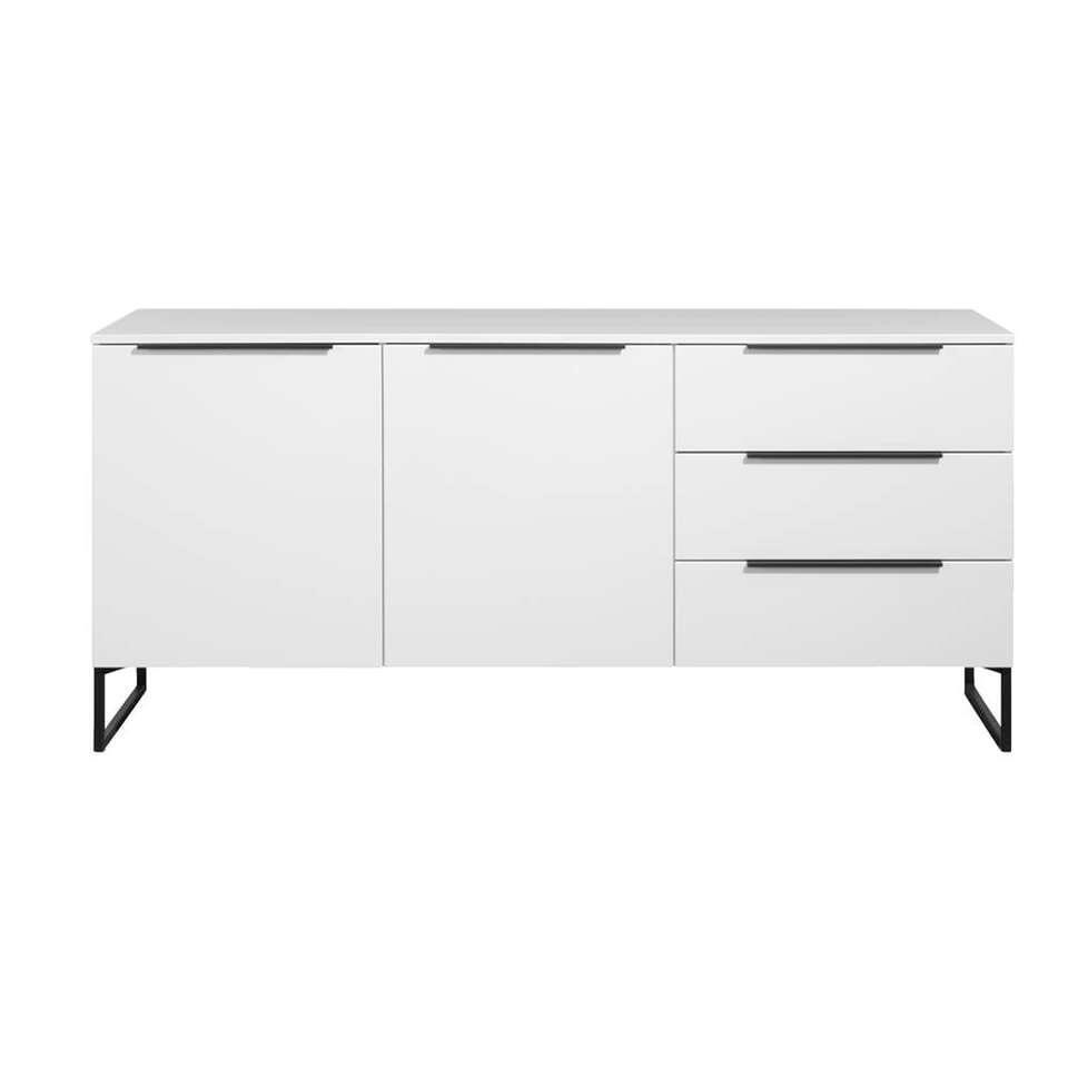 Dressoir Malaga - wit/zwart - 88x190x48 cm