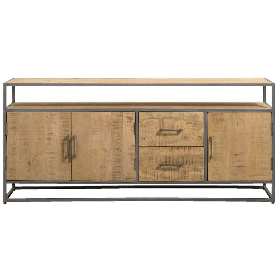 Dressoir Logan - naturel/grijs - 80x180x40 cm