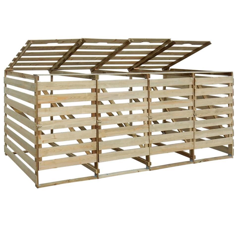 vidaXL Containerberging vierdubbel - 240 L - gempregneerd grenenhout