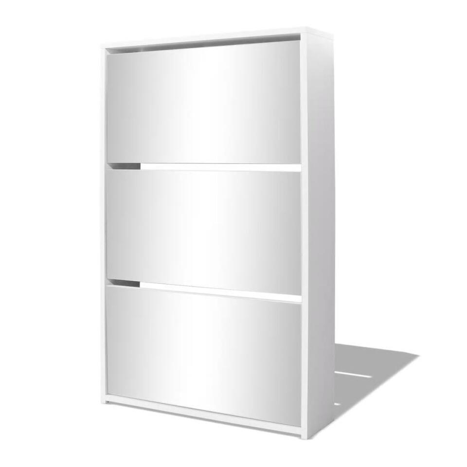 VIDAXL Schoenenkast - drielaags - met spiegel - 63x17x102,5 cm - wit
