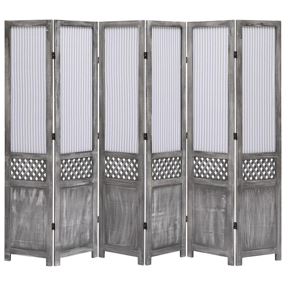 VIDAXL Kamerscherm - met 6 panelen - 210x165 cm - stof - grijs