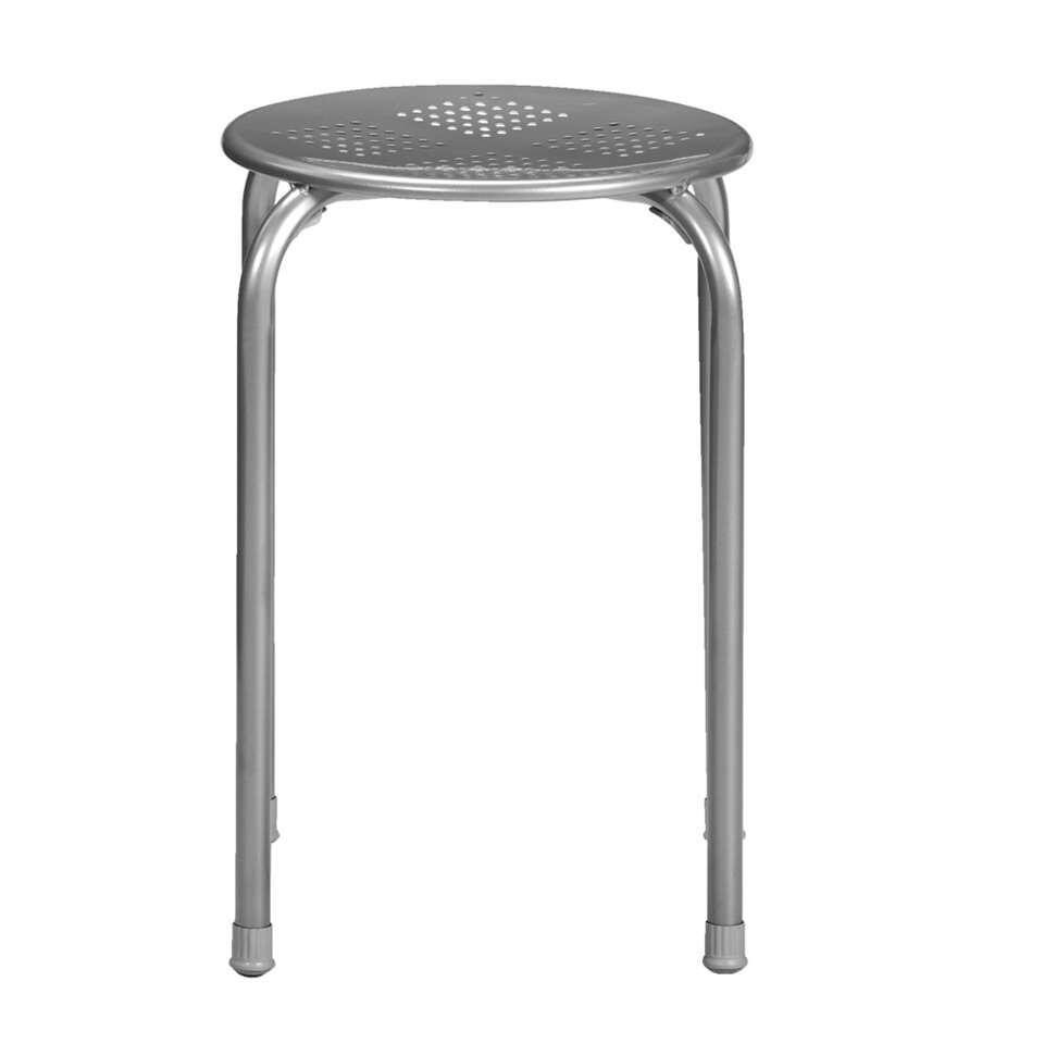 Kruk Ede - zilverkleur - 45x37x37 cm - Leen Bakker