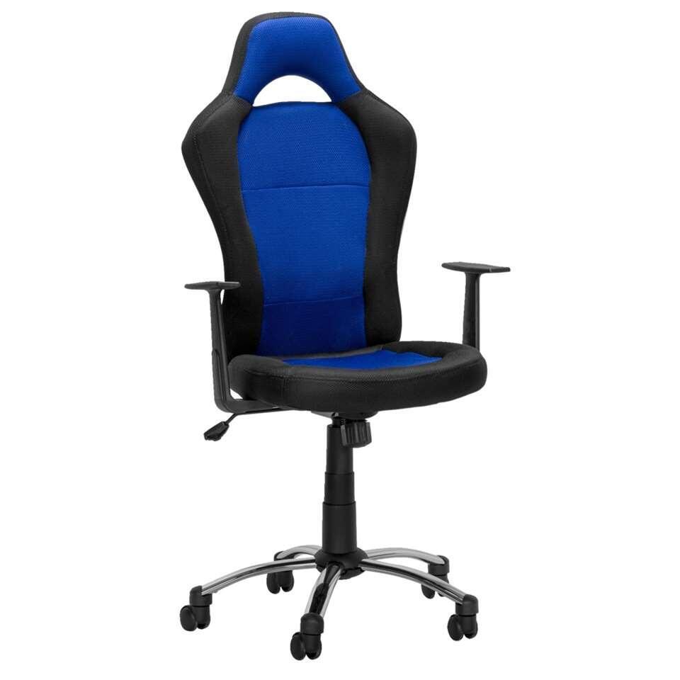 Bureaustoel Toledo - zwart/blauw - Leen Bakker
