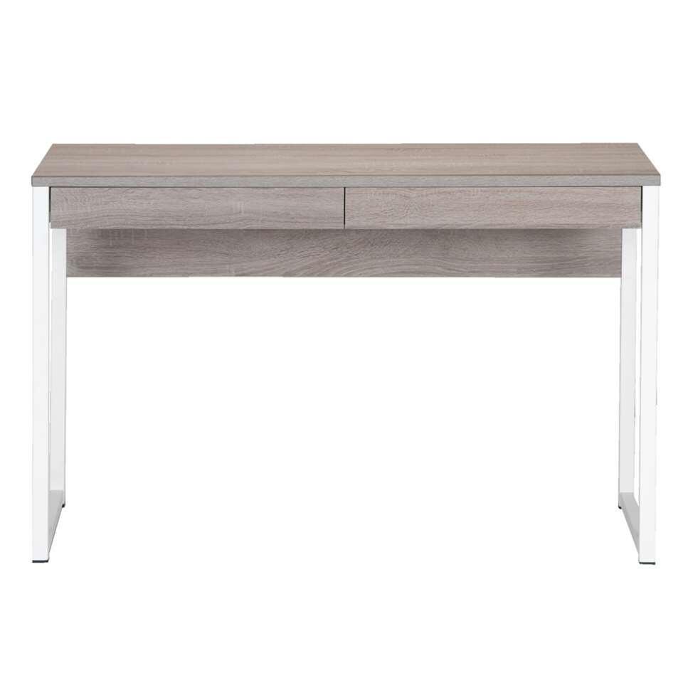 Het Napels bureau steekt op prachtige wijze een rustiek design in een modern jasje. Het truffelkleurige hout van het tafelblad wordt extra geaccentueerd door het witte metalen frame waardoor het geheel een zeer opvallende look kri