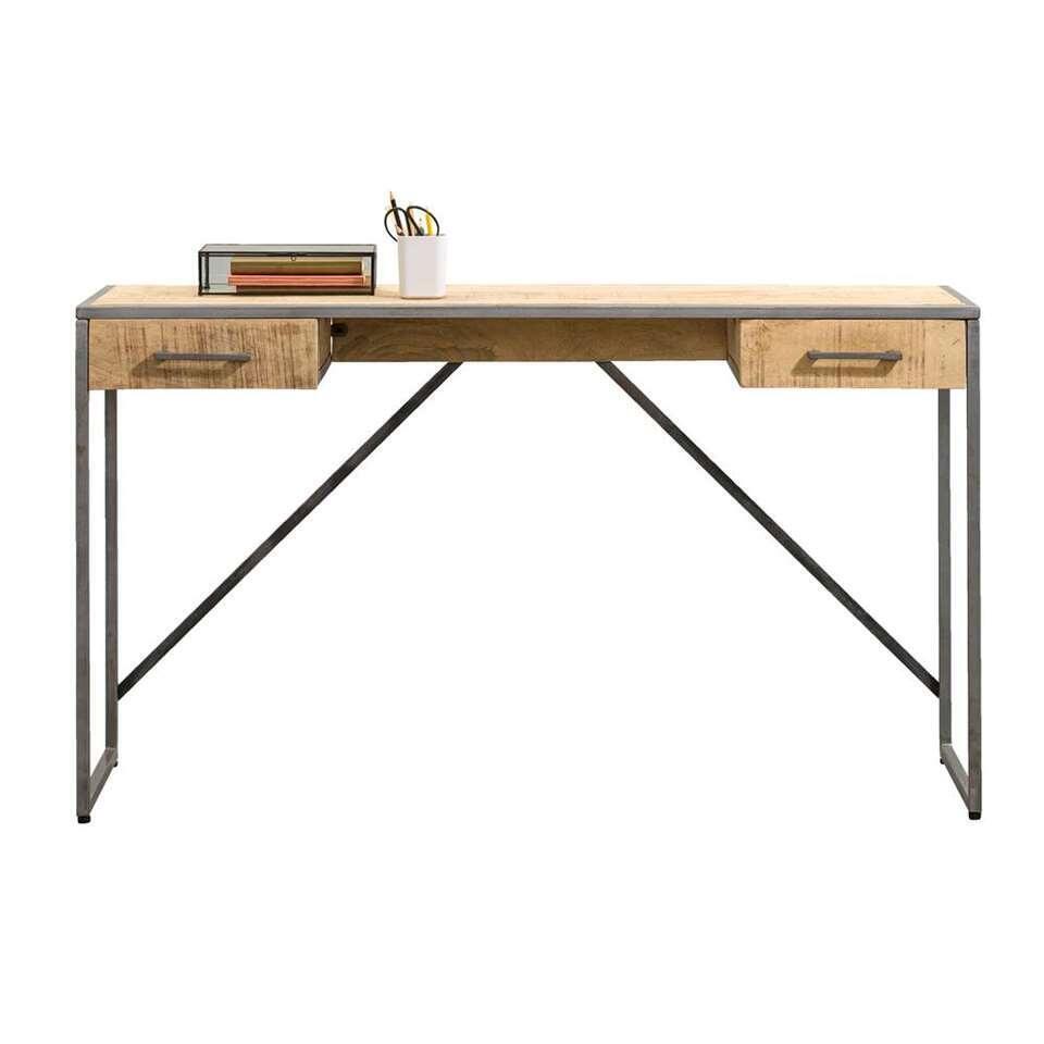 Bureau Logan - naturel/grijs - 78x140x40 cm