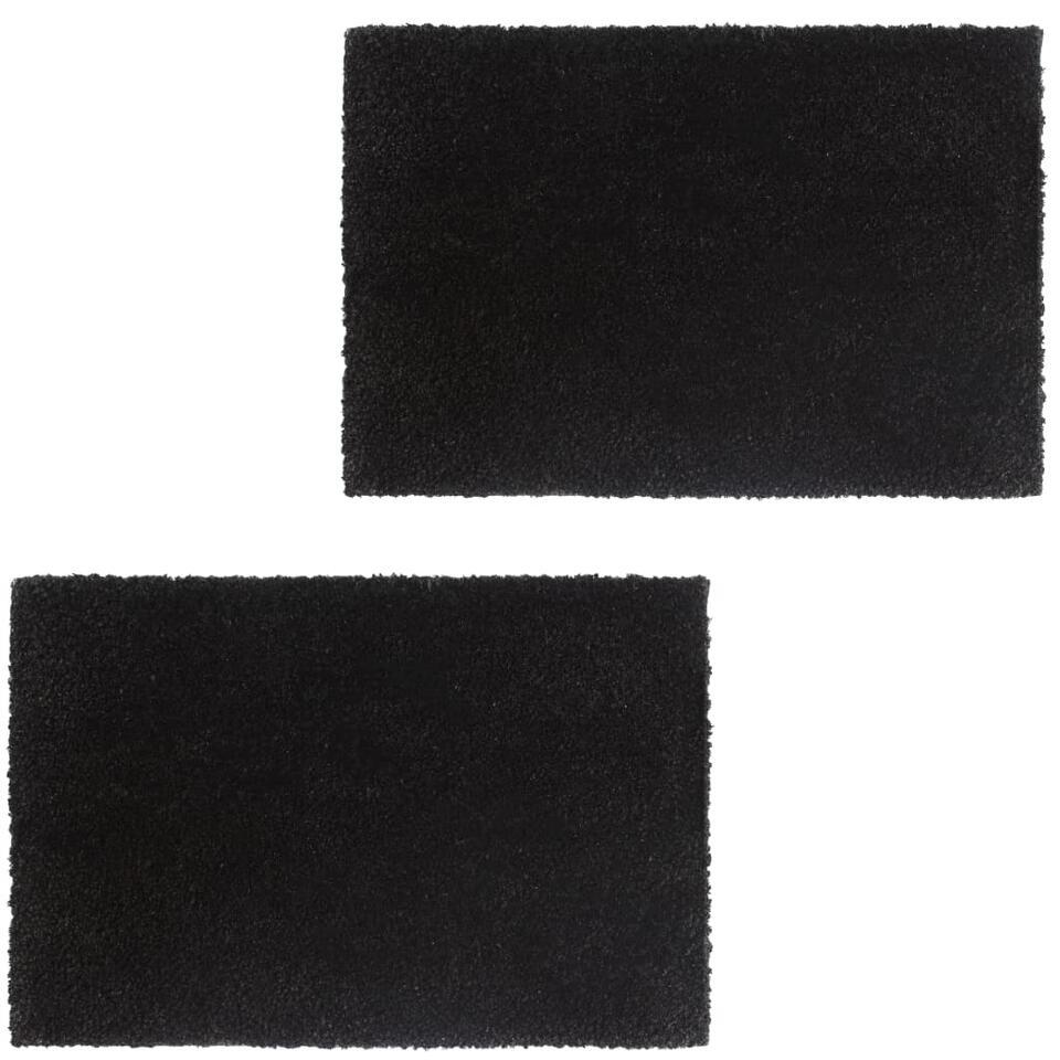 vidaXL Deurmatten - 24 mm - 50x80 cm - kokosvezel zwart 2 st