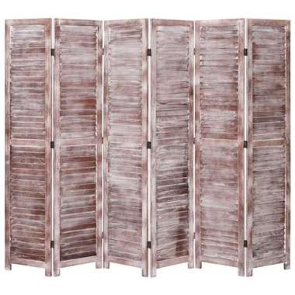 VIDAXL Kamerscherm - met 6 panelen - 210x165 cm - hout - bruin