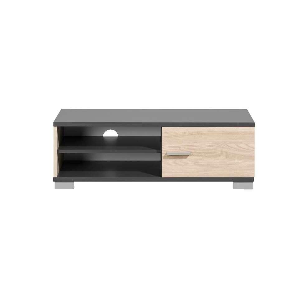TV-meubel Boston - grijs met houtkleur - 35x100x40 cm - Leen Bakker