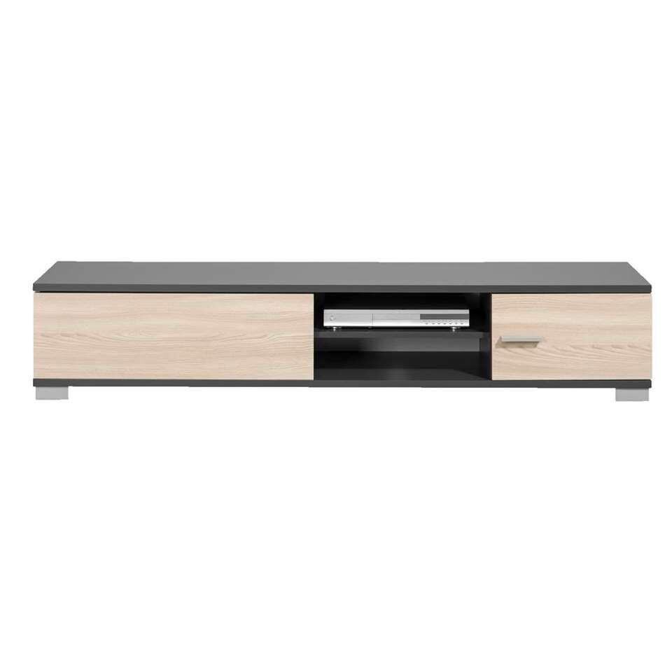 TV-meubel Boston - grijs met houtkleur - 35x180x40 cm - Leen Bakker