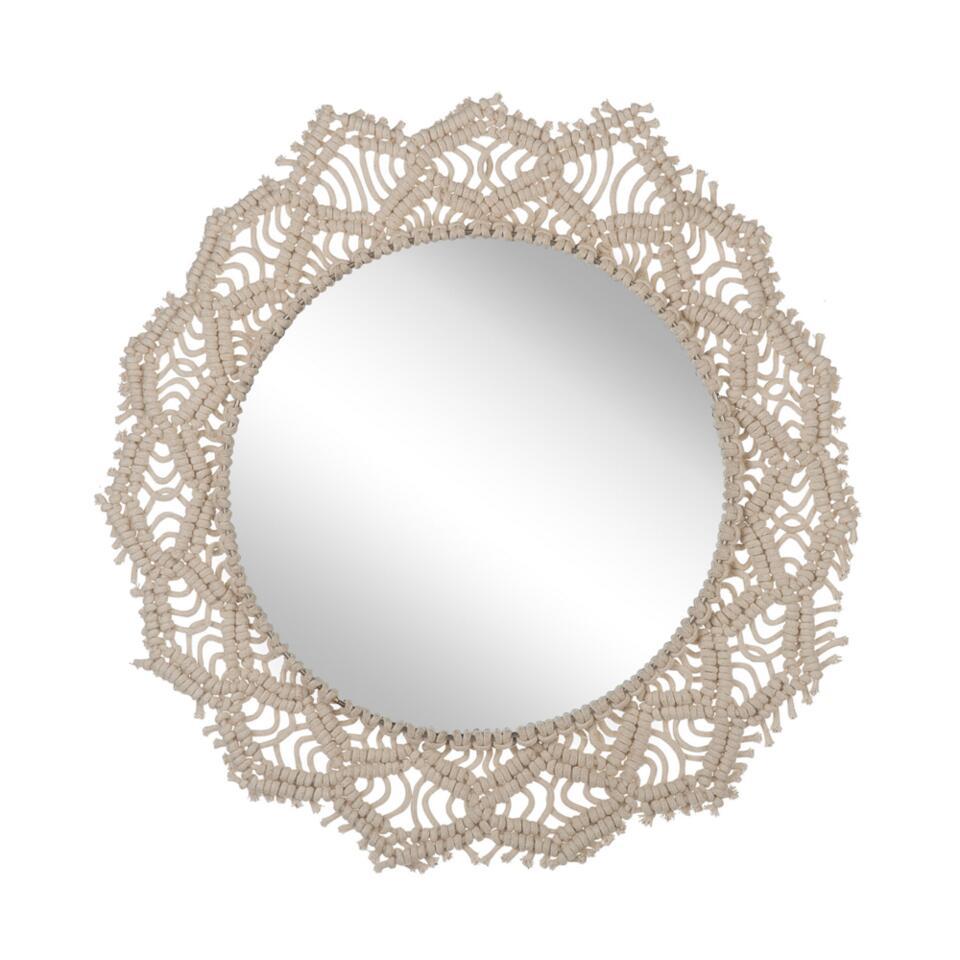 Beliani Wandspiegel SATRAL - beige stof