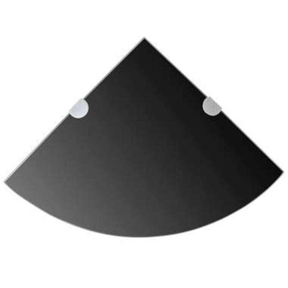 VIDAXL Hoekplank - met chromen - dragers - zwart25x25 cm - glas