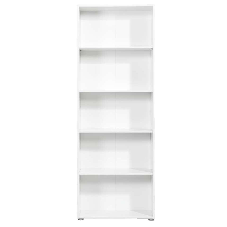 Boekenkast Rome - wit - 197x70x29,8 cm - Leen Bakker