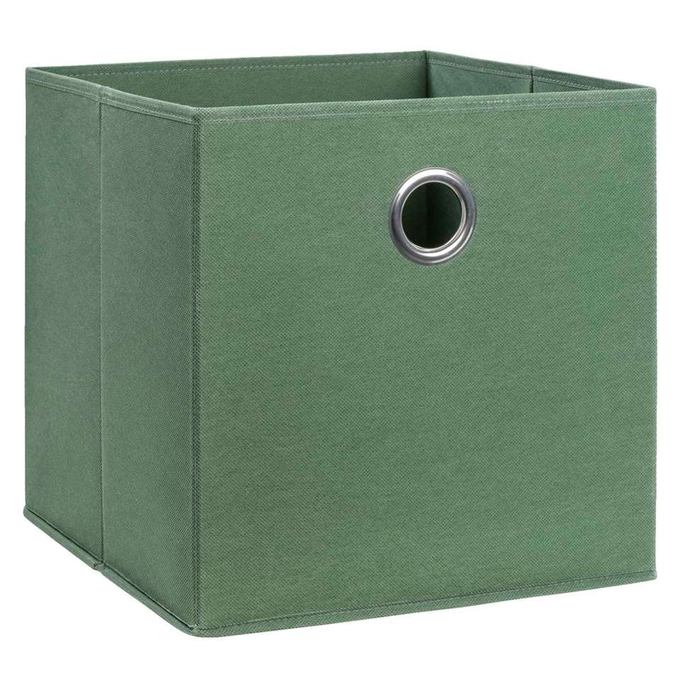Opbergbox Parijs - olijfgroen - 31x31x31 cm
