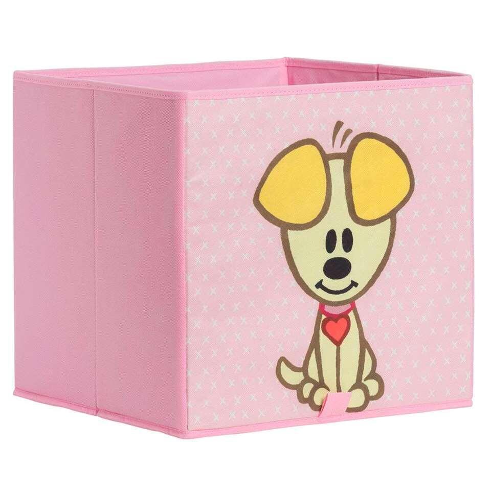 Woezel & Pip opbergbox - roze - 31x31x31 cm