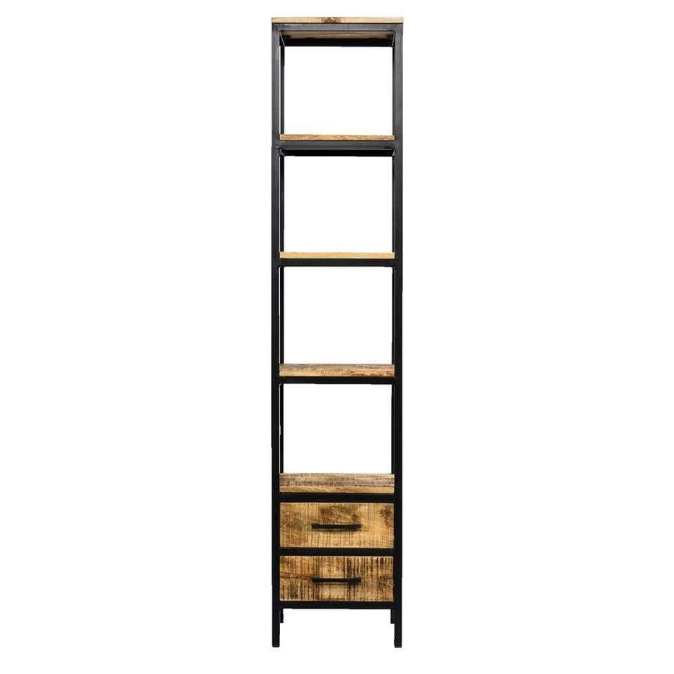 Boekenkast Kyan - zwart/naturel - 190x40x40 cm