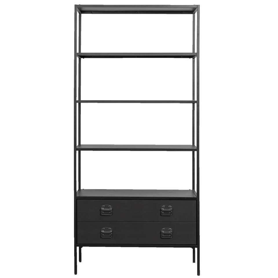 Woood boekenkast Derby - zwart - 205x95x38 cm
