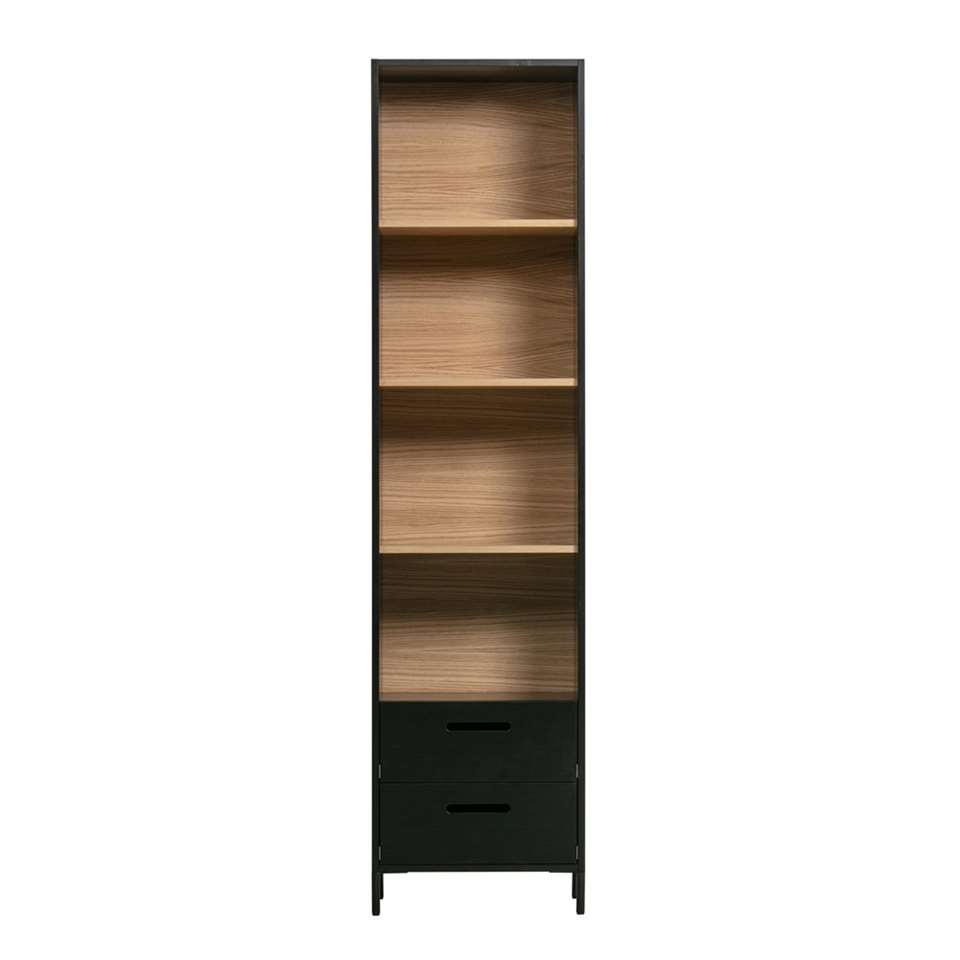 Woood boekenkast Blackburn - zwart/bruin - 200x50x35 cm