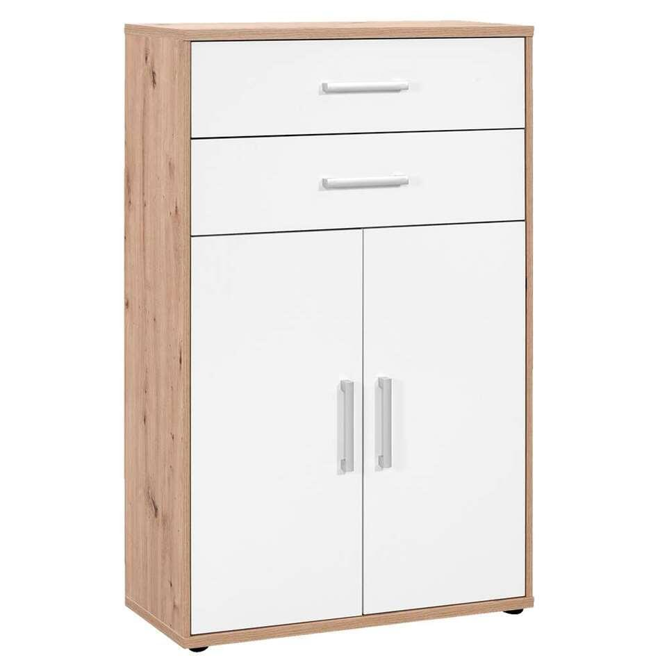 Boekenkast Belmont 2-deurs, 2 lades - eikenkleur/wit - 123,2x78x35,4 cm