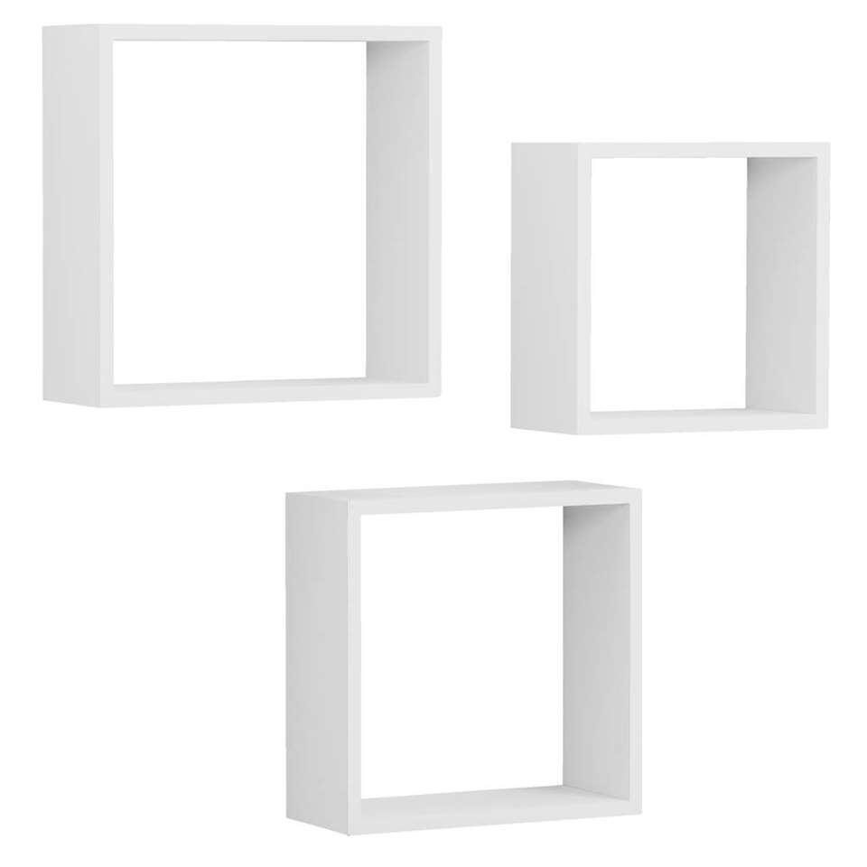 Wandkubus Duraline Triple 3 stuks - wit - 30x30x12 cm