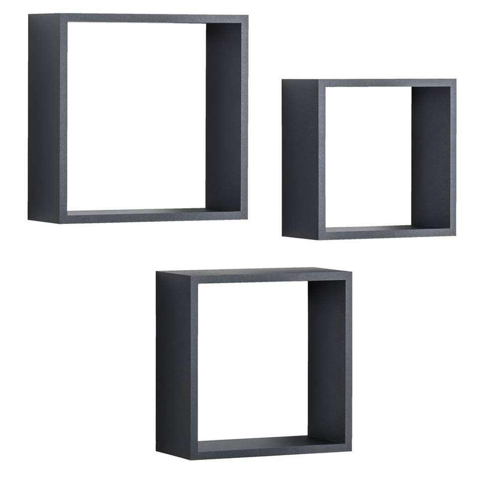 Wandkubus Duraline Triple 3 stuks - zwart - 30x30x12 cm
