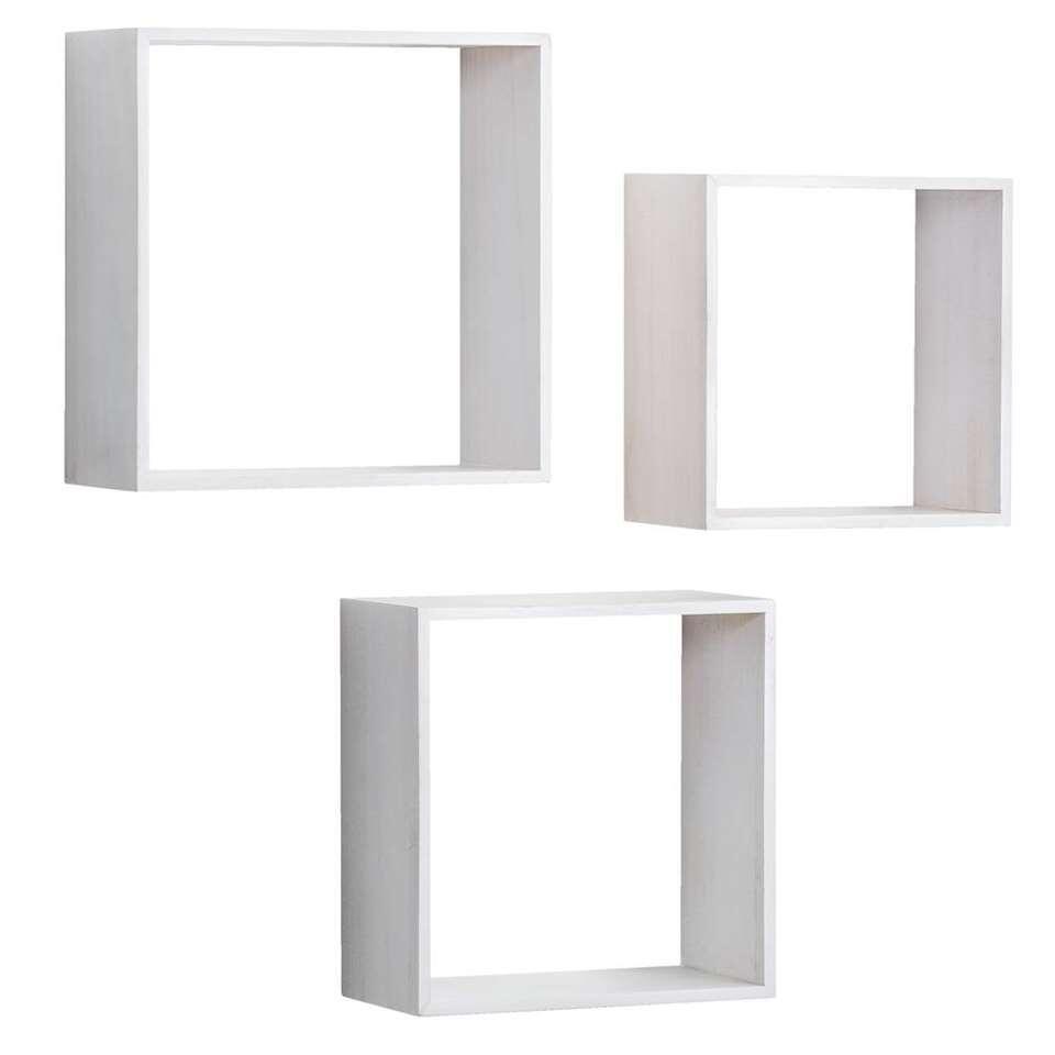 Wandkubus Duraline Paulownia 3 stuks - wit - 30x30x12 cm