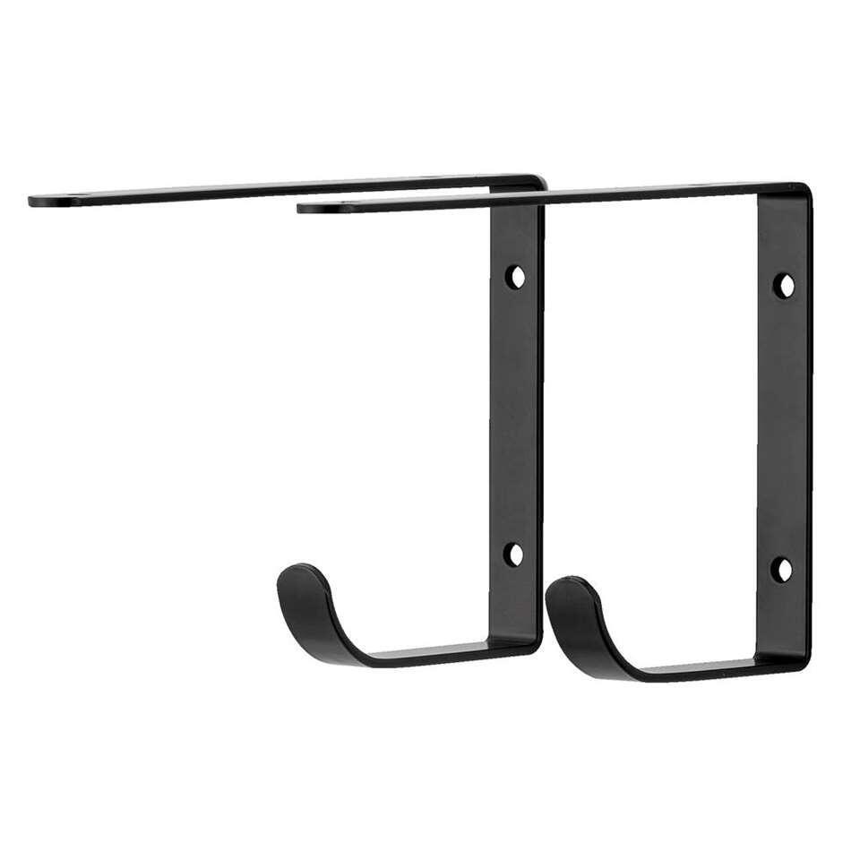 Plankdrager Duraline met haak - zwart - 2 stuks