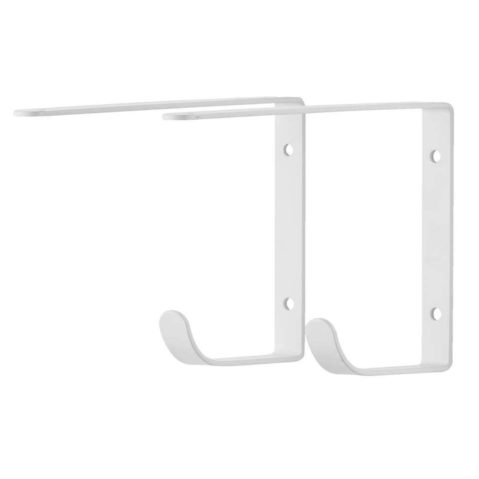Plankdrager Duraline met haak - wit - 2 stuks