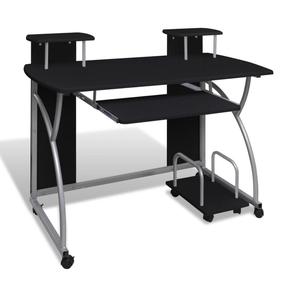 VIDAXL Computerbureau - met uitschuifblad - 120x60 cm - zwart