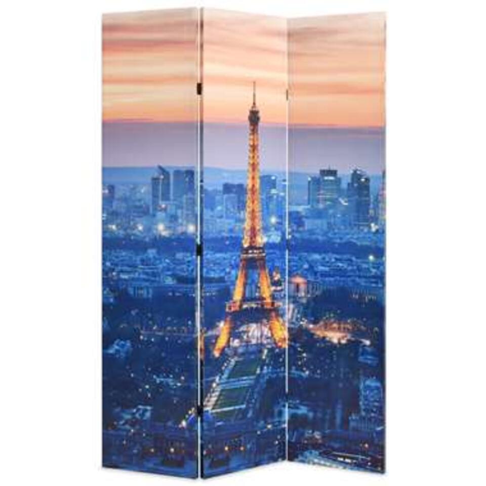 VIDAXL Kamerscherm - inklapbaar - Parijs - bij nacht - 120x170 cm