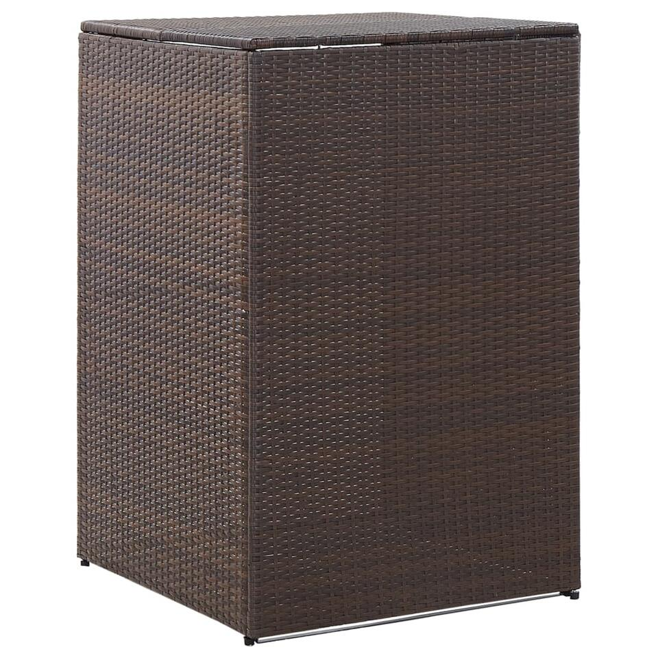 vidaXL Containerberging enkel - 76x78x120 cm - poly rattan - bruin