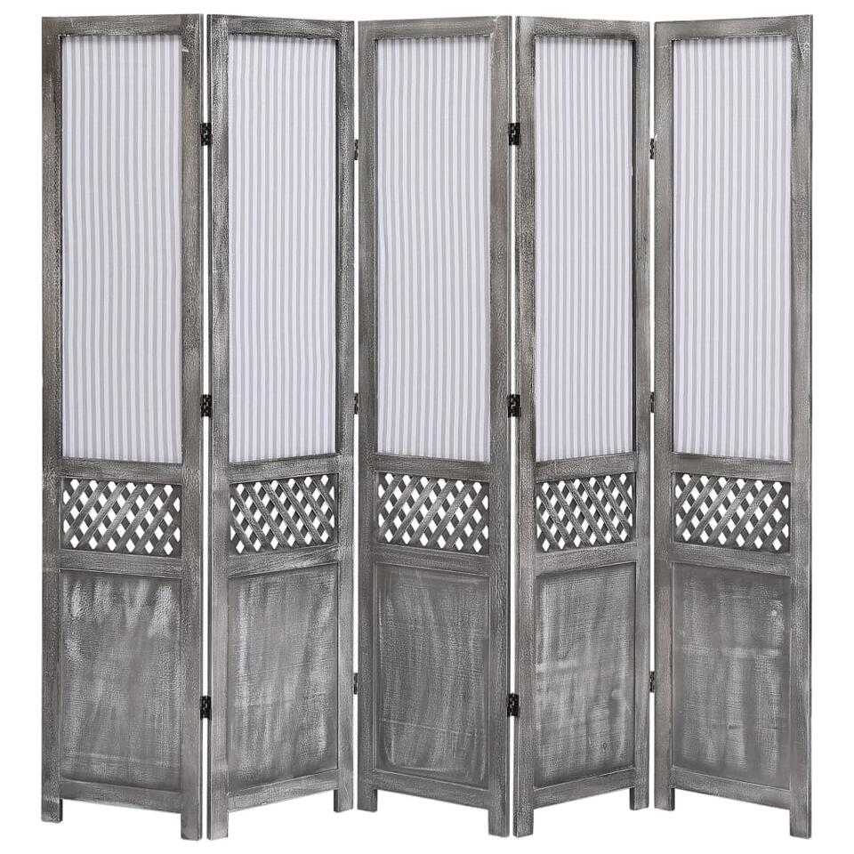 VIDAXL Kamerscherm - met 5 panelen - 175x165 cm - stof - grijs