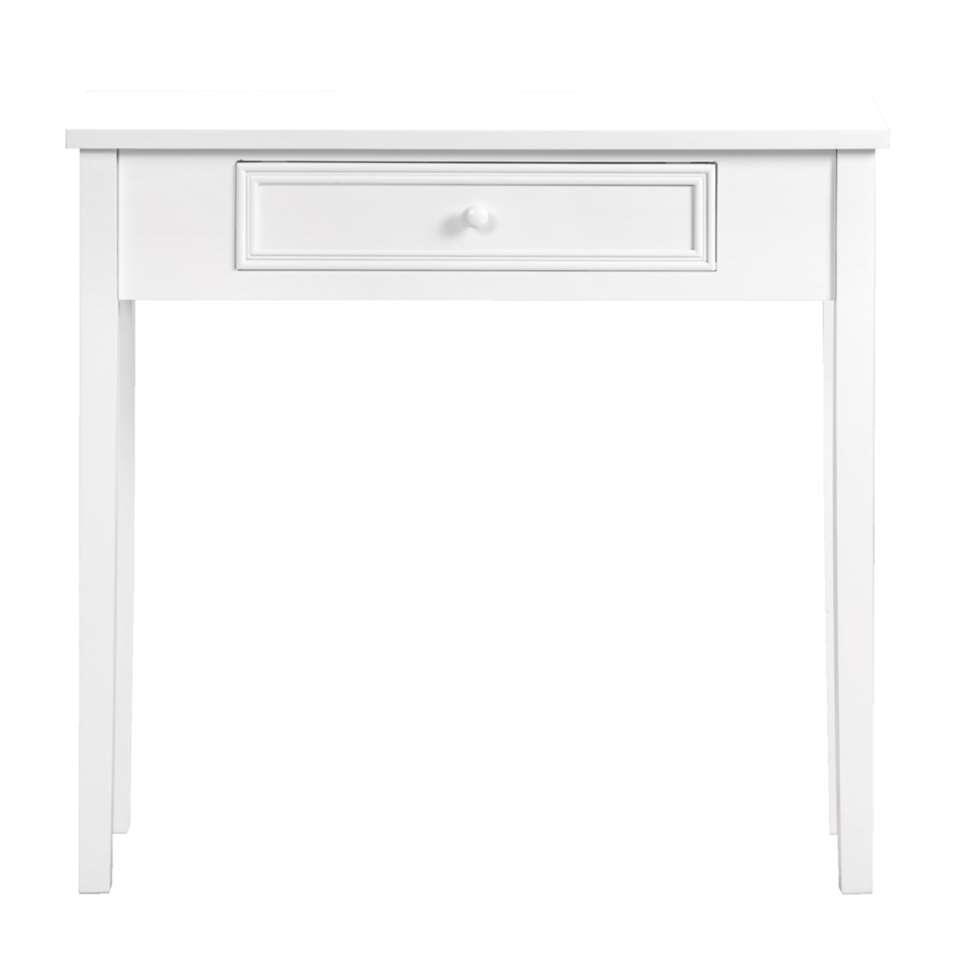 De sidetable Sophie is vervaardigd uit wit MDF, wat de romantische stijl accentueert. Behalve als haltafel is deze tafel ook goed te gebruiken als bijzettafel in de woonkamer of kaptafel in een romantisch ingerichte slaapkamer.