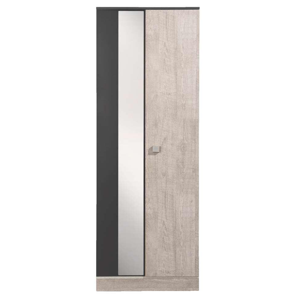 Schoenenkast Denver - grijs/eikenkleur - 197x71x38 cm - Leen Bakker