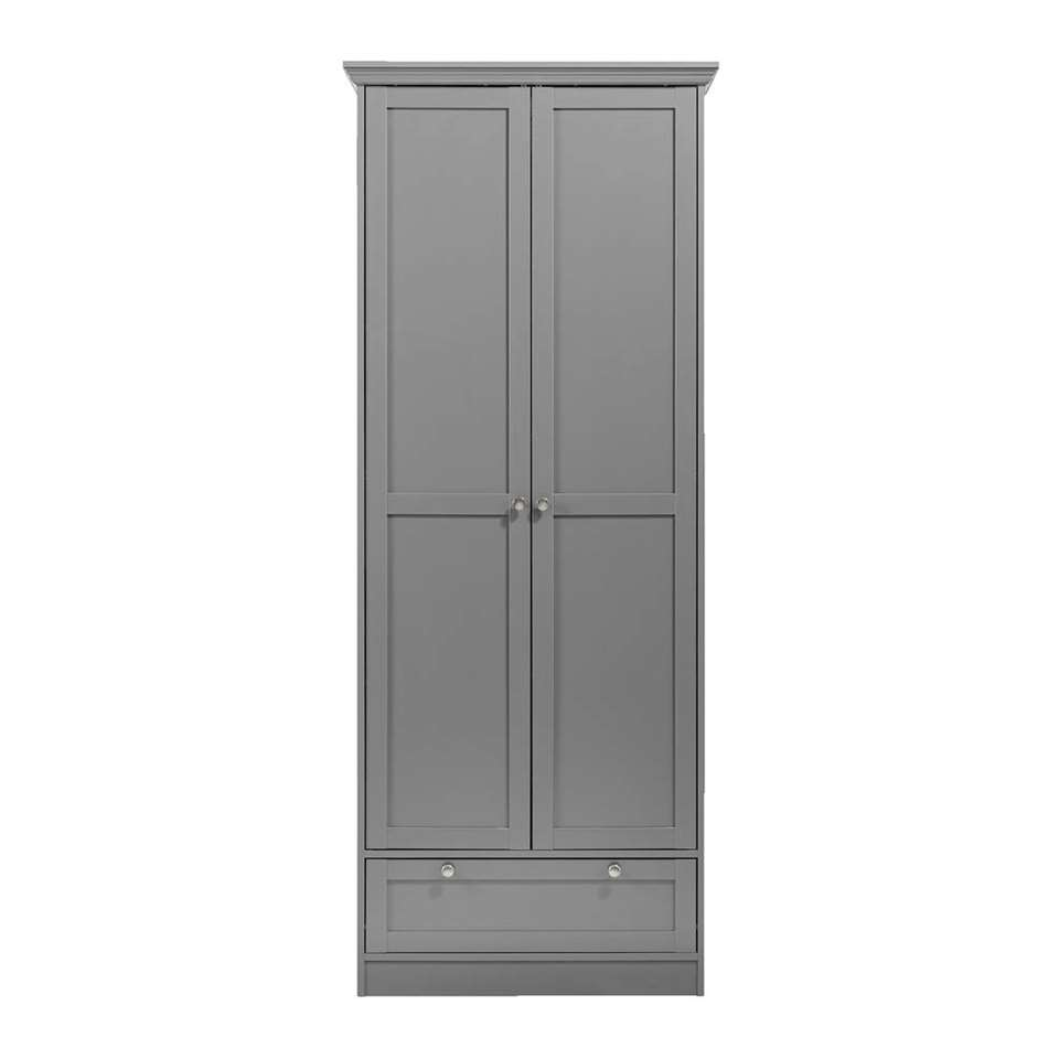 Kast Vera 2-deurs - antraciet - 200x80x39 cm - Leen Bakker