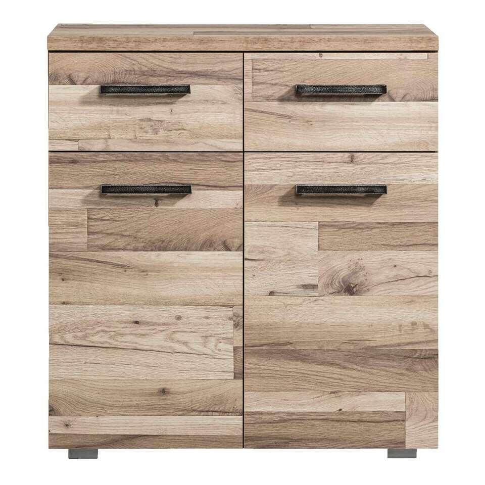 Kast Gomera 2 deuren en 2 lades - houtstructuur - 85x78x38 cm