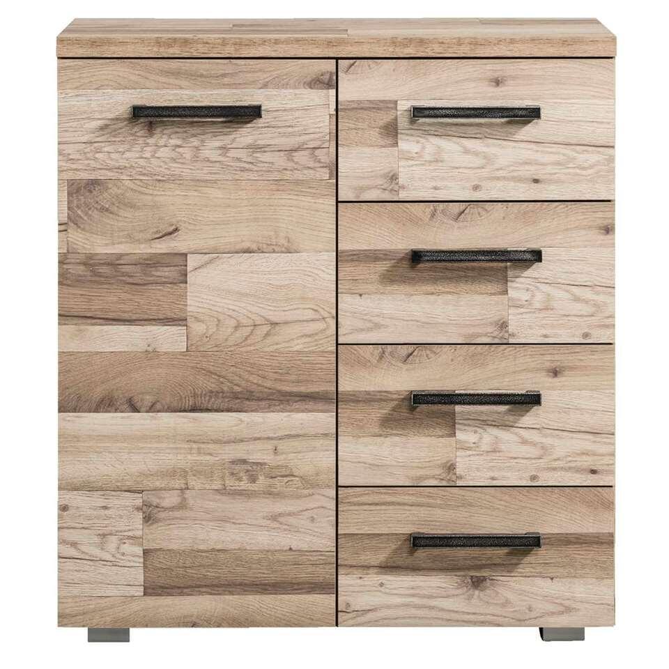 Kast Gomera 1 deur en 4 lades - houtstructuur - 85x78x38 cm - Leen Bakker
