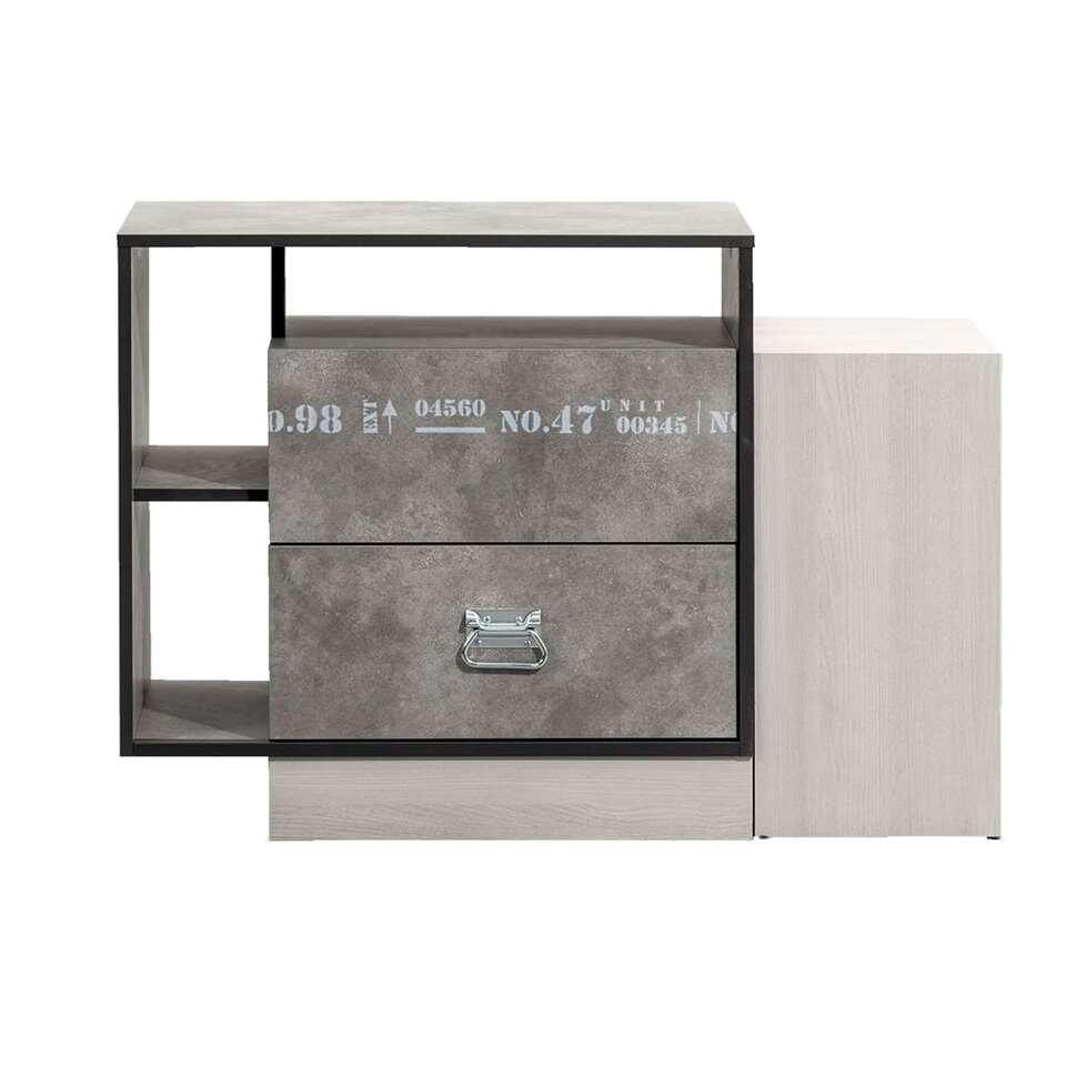Kast Jip - grijs eikenkleur - 70x102x40 cm - Leen Bakker
