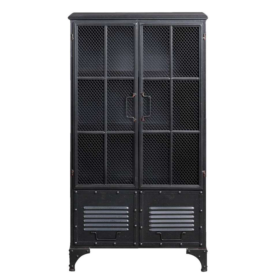 Woood wandkast Bink 2- deurs - zwart - 113,5x62x35,5 cm - Leen Bakker