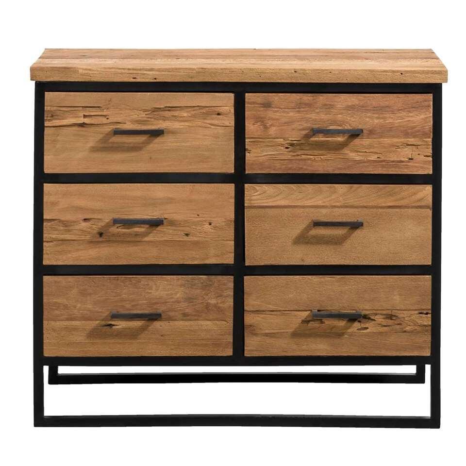 Kast Jaimy 6 lades - naturel/zwart - 74,5x85x40 cm