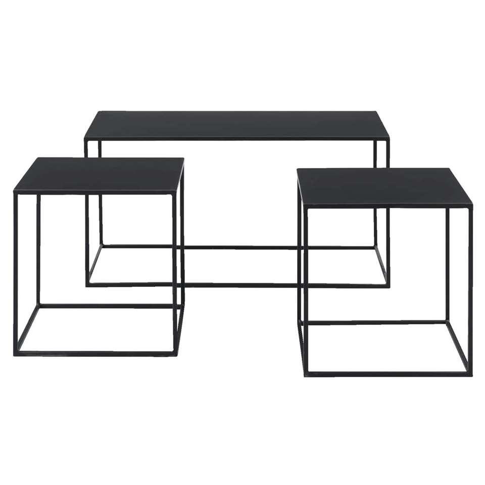 Bijzettafel Palermo - zwart (3 stuks) - 40x80x40 cm - Leen Bakker
