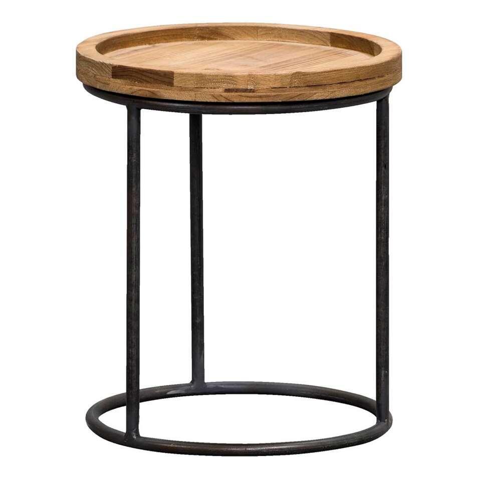 Bijzettafel Tuur is een handig tafeltje. Dit moderne tafeltje heeft een zwart frame en een naturelkleurig tafelblad gemaakt van hout.