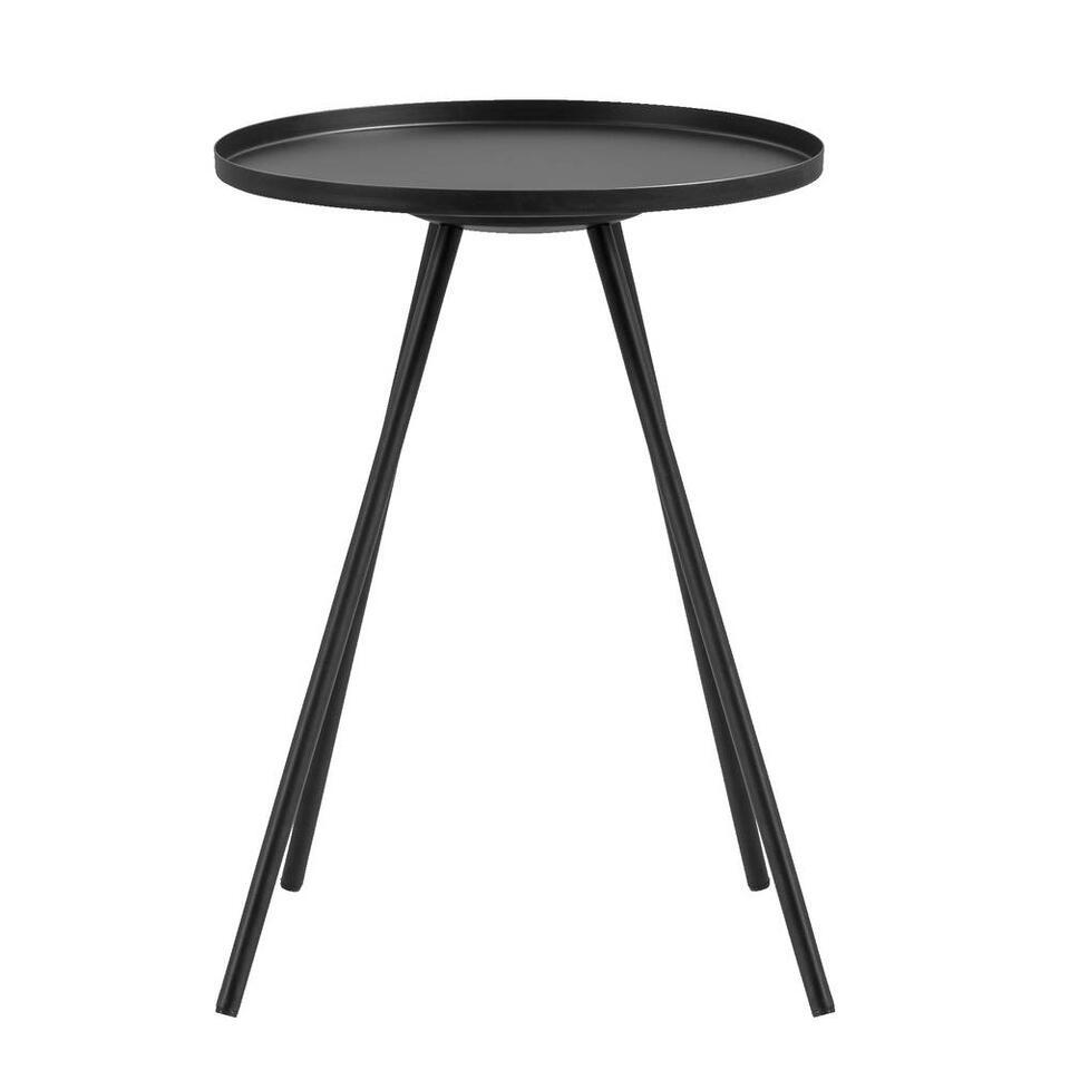 Bijzettafel Leicester – mat zwart – 56xØ40 cm – Leen Bakker
